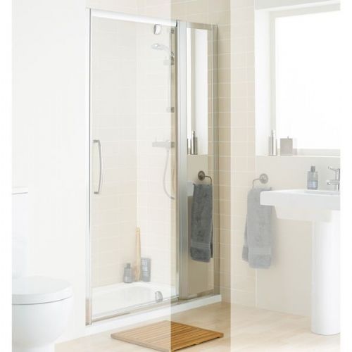 Lakes Mirror Shower Door In-Line Panel Pack - 350mm - Silver - Mirror Glass